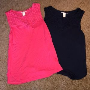 Pink and Navy Blue H&M tanks with crocheted detail